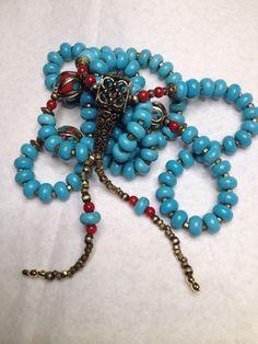 SALE! Handmade Tibetan Buddhist Mala 108 Prayer Beads Turquoise Coral Brass