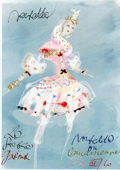 """Christian Lacroix. Sketch for The Parisian Ballet performance """"La Source"""""""