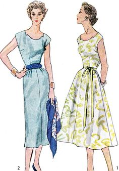 1950s Dress Pattern Simplicity 4358 Slim or Full by paneenjerez, $14.00