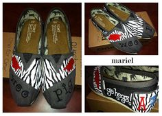 Custom Hand Painted Zebra Print TOMS Shoes  by ruelledesigns, $85.00