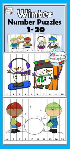 Winter Number Counting Puzzles - Numbers 1-20 Snow Activities, Educational Activities, Preschool Activities, Counting Puzzles, Number Puzzles, Numbers Kindergarten, Math Numbers, Alphabet, File Folder Activities