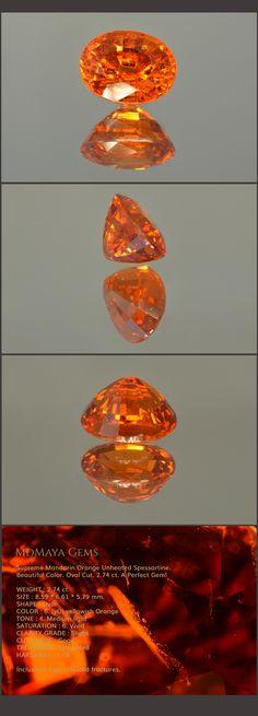 Supreme Mandarin Orange Unheated Spessartine. Beautiful Color. Oval Cut. 2.74 ct. A Perfect Gem! Loose Garnets Gems MdMaya Gems