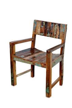 Shabby Chic Stuhl mit Armlehnen aus Recycling Holz - Industrial Chic - Produkte - Moebelhaus Hamburg für Landhausmöbel | Teakmöbel | Kolonialmöbel | Chinamöbel | Indische Möbel |Stühle | Tische und Sofa