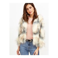 SheIn(sheinside) Color Block Open Front Faux Fur Coat (€34) ❤ liked on Polyvore featuring outerwear, coats, apricot, faux fur collar coat, long sleeve coat, short sleeve coat, short coat and colorblock coat