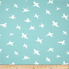 Premier Prints Twill Bird Silhouette Canal from @fabricdotcom  Screen printed on cotton twill; this versatile lightweight fabric is perfect for window treatments (draperies, valances, curtains and swags), toss pillows, bed skirts, duvet covers, some upholstery and other home decor accents.