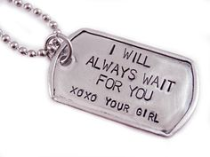 Army boyfriend gifts - Personalized Dog Tag Necklace Gift for Him Engraved Stainless Steel I Will Always Wait For You Deployment Necklace Soldier 1164 – Army boyfriend gifts Army Boyfriend Gifts, Marine Boyfriend, Army Gifts, Bf Gifts, Cute Gifts, Teacher Gifts, Boyfriend Stuff, Custom Dog Tags, Personalized Dog Tags