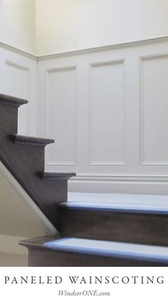 ReConstruct of Denver, CO, put together this wainscoting along the stairs using WindsorONE and Federal Panel Mold, more pics at the link - Modern Staircase, Staircase Design, Spiral Staircases, Panel Moulding, Moldings, Crown Molding, Wainscoting Wall Paneling, Craftsman Interior Doors, Narrow Hallway Decorating