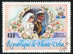princess diana: BURKINA FASO CIRCA 1983: stamp printed by Burkina Faso, shows Wedding of Princess Diana and Prince Charles, circa 1983