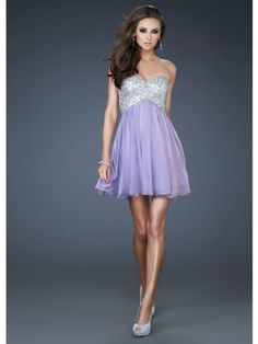 Short, Lavender Dress With Sparkly Sweetheart Neckline