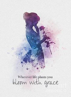 Wherever life plants you Bloom with grace Quote ART PRINT Inspirational Lady Flower Gift Wall Art Home Decor motivational woman rose watercolour gift ideas quotes birthday christmas Cute Disney Quotes, Disney Princess Quotes, Cute Quotes, Girl Quotes, Words Quotes, Cinderella Quotes, Music Quotes, Dreamy Quotes, Magical Quotes