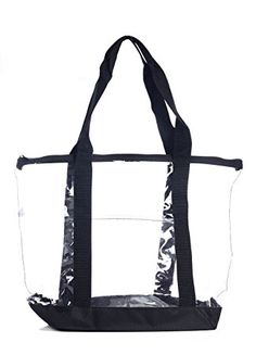 Clear Stadium Security Travel & Gym Zippered Tote Bag By Bags For Less - Sturdy PVC Construction, Black Trim, Full Zipper Top Gusset - Clear Front Pocket - Color Fabric Bottom & Long Handles