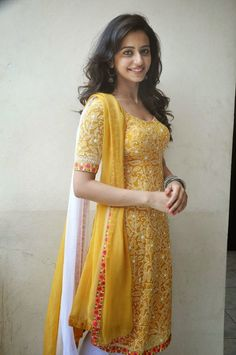 Rakul Preet Singh yellow churidar