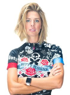 Updated Tattoo Designs for 2016! Performance short sleeve jersey with edgy tattoo graphics. - BettyStyle™ luxe ultra-light polyester/Lycra© blend fabric with hint of shimmer (bling), quick dry technol