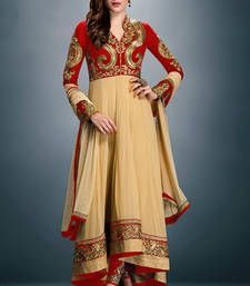 Buy Red and beige embroidered faux georgette semistitched salwar with dupatta party-wear-salwar-kameez online