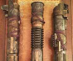 Give your alternate Star Wars universe ensemble a bit of authenticity by completing the look using these steampunk lightsabers. Each custom lightsaber is meticulously crafted to look like a battle hardened Jedi weapon from a galaxy far far away.