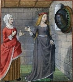 Harley 4425   f. 114  Detail of a miniature of Bel Accueil (Fair Welcome) looking at her reflection in a mirror while la Vieille (the Duenna) admires.  Origin:Netherlands, S. (Bruges)