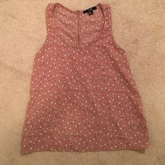 Forever 21 Tank Top Pink tank top with birds and blue dots. Looks cute tucked into a skirt or loose with jeans. Forever 21 Tops Tank Tops