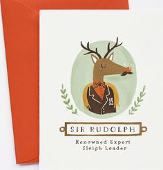 sir rudolph xmas cards etsy by quill and fox