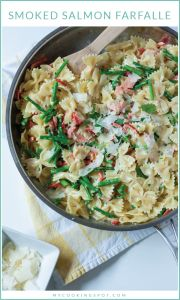 Smoked salmon farfalle pasta with asparagus and red bell peppers–a perfect Spring meal!