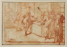 Antoine Watteau, 'La boutique d'un marchand d'étoffes', c. 1705/1711. Projet d'enseigne.