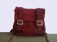 Leather Crocheted Backpack  ReddishPurple Suede by leatherstuff, $220.00