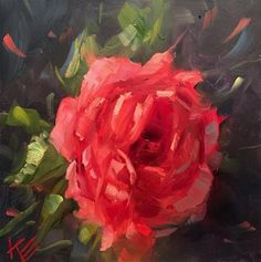 """Daily Paintworks - """"Roses are Red"""" - Original Fine Art for Sale - © Krista Eaton"""