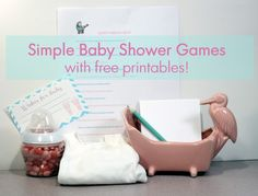#babyshower games #baby #shower #games #free #printable - Simple baby shower games that are easy to plan and fun for the guests.  Some also provide keepsakes for mom or baby!