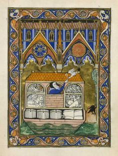 Psalter of St. Louis, The dove returns to the ark, North French Miscellany:The dove and the raven,  ca. 1270