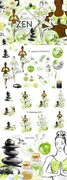 Yoga clipart, yoga girl clip art with watercolor lotus flower, zan stones, candles, apples and workout accessories.