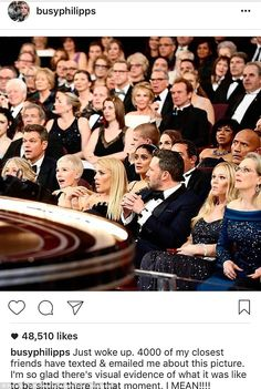 Shock and awe:Busy Philipps posted an Instagram story on Tuesday to detail what happened on Sunday when the Oscars descended into chaos because of the Best Picture flub (front row l to r: Michelle Williams, Philipps, Ben Affleck, guest and Meryl Streep)