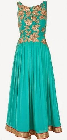 Jade by Monica and Karishma - Featuring a sky blue french chiffon sleeveless anarkali with gold gota embroidered flowers on bodice and cut out back. It is paired with a contrasting red dupatta with navy blue border. It is fitted at waist.