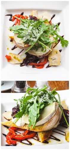 Grilled goat cheese, roasted red pepper and artichoke bruschetta with pesto and balsamic reduction. One un-boring lunch!