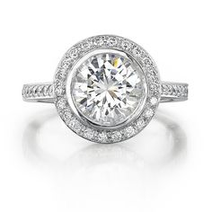 INTA Gems - Diamond Halo Engagement Ring - like the break between the stone and halo here