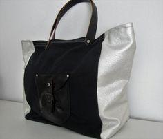 Tote bag canvas polyvynil and leather por LAMILAcanvas en Etsy