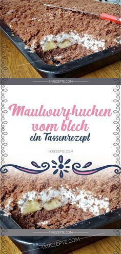 Maulwurfkuchen vom Blech – ein Tassenrezept Mole cake from the tin – a cup recipe Easy Smoothie Recipes, Easy Smoothies, Gourmet Recipes, Snack Recipes, Dessert Recipes, Coconut Recipes, Fall Desserts, Ice Cream Recipes, Cheesecake Recipes