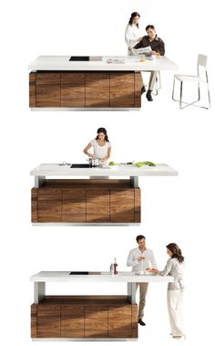 Height adjustable work surface at the push of a button.