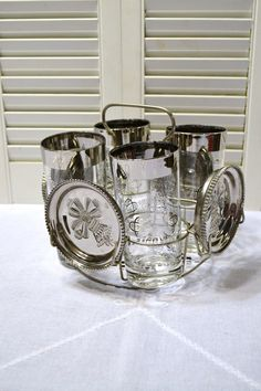 Vintage Silver Glass and Coaster Set with Holder by PanchosPorch