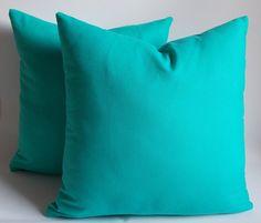 Set of 2 / Turquoise pillow,Decorative pillow,Throw pillow,Pillow cover 20'' x 20'' (50 cm x 50 cm) Cotton Canvas Pillow