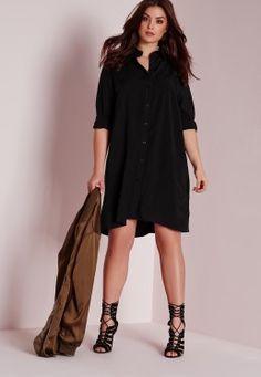 Plus Size Shirt Dress Black