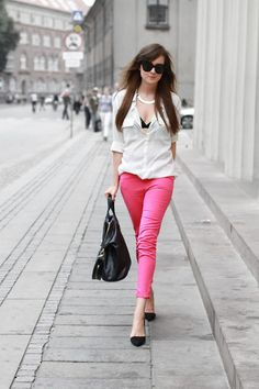 pink jeans and white blouse