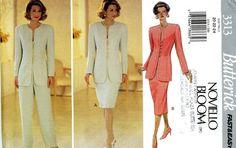 Butterick 3313 Noviello Bloom Easy Suit Jacket Skirt Pants Plus Size 20 22 24 Uncut Vintage Sewing Pattern 1994