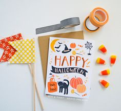 Happy Halloween seasonal Folded Note Cards, Autumn, Stationery, Hand Drawn, Illustration, Fall, Notecards, Greeting Cards