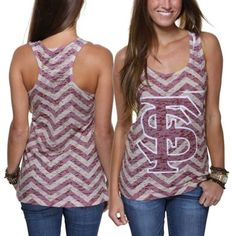 Florida State Seminoles Ladies Chevron Racerback Tank Top - Garnet