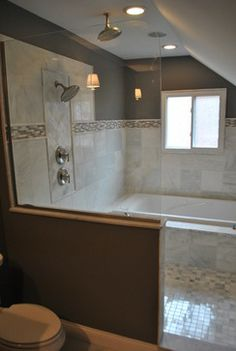 Traditional Bathroom Walk Through Shower Design Ideas, Pictures, Remodel, and Decor - page 3