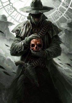 Cover art for The Shotgun Arcana (R. Belcher) by Raymond Swanland. Wild West undead Mage holding a skull. Dark Fantasy Art, Fantasy Artwork, Dark Art, Cover Art, Character Inspiration, Character Art, Arte Obscura, Arte Horror, Grim Reaper