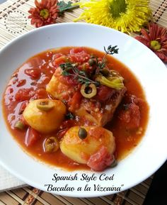 Spanish Style Cod or Bacalao a la Vizcaína #ABRecipes