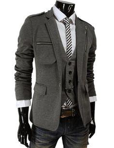 Mens Single Breasted Chest Zipper Slim Fit Stretchy Jacket Blazer