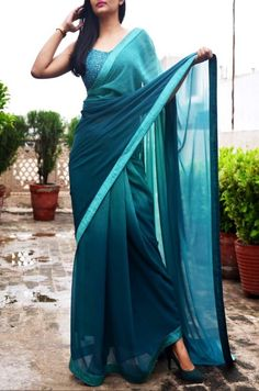 Teal Green Double Shaded Georgette Saree by Colorauction #green #sarees #teal #colorauction