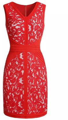 Red V Neck Sleeveless Lace Slim Dress