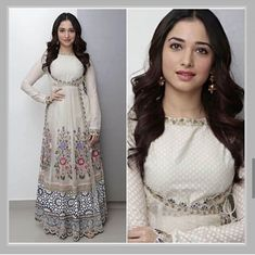 Anarkali Angrakha Gown with superb embroidery and embellishment Western Dresses, Western Gown, Angrakha Style, Plain Dress, Indian Designer Wear, Bollywood Fashion, Indian Wear, Designer Dresses, Gowns